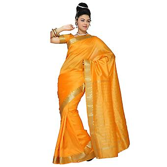 Pompoen Art Silk Saree Sari stof India gouden rand