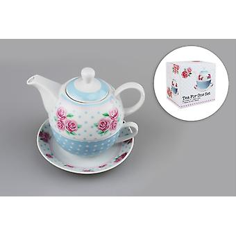 Tea For One Set 3pcs Porcelain Cup,Saucer+Tea Pot Stacked Cup Mothers Day