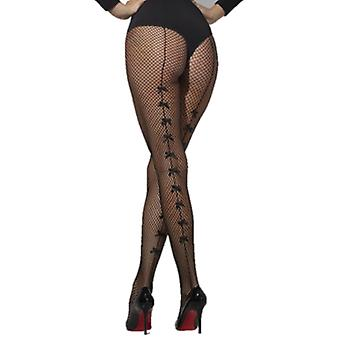 Smiffys Fishnet Tights Black With Satin Bows (Costumes)