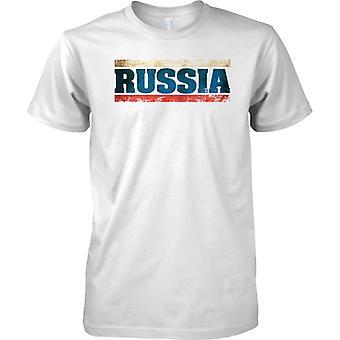 Russland Föderation Grunge Name Markierungsfahne Effekt - Tricolour - T-Shirt für Herren