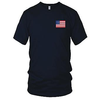 USA American Country National Flag - Embroidered Logo - 100% Cotton T-Shirt Kids T Shirt