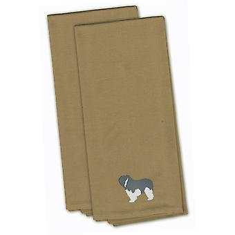 Pianura polacca Sheepdog cane Tan ricamato asciugamano da cucina Set 2