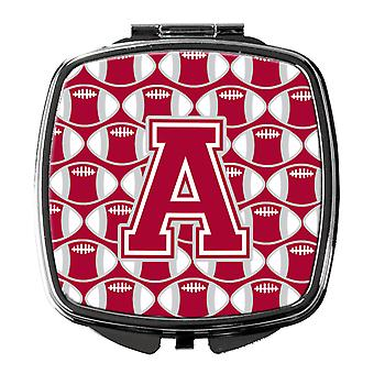 Letter A Football Crimson, grey and white Compact Mirror