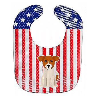 Carolines skarby BB3103BIB patriotyczne USA Jack Russell Terrier Baby Bib