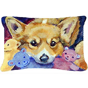 Carolines Treasures  7431PW1216 Corgi with all the toys Fabric Decorative Pillow