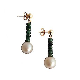 Gemshine - ladies - earrings - gold plated - Emerald - Green - Pearl - White - 3 cm