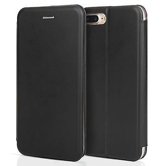 iPhone 7 Plus effekt Stand plånbok läderfodral - svart