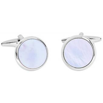 David Van Hagen Shiny Circle Mother of Pearl Cufflinks - White/Silver