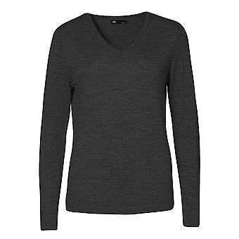 ID Womens/Ladies Fitted Knitted V-Neck Pullover Sweatshirt/Jumper