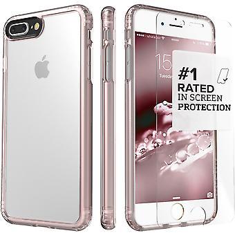 SaharaCase iPhone 8 Plus & 7 Plus rosa caja de oro, paquete de Kit de protección claro con ZeroDamage de cristal templado