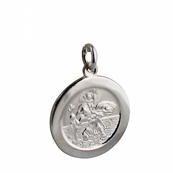 Sterling Silver Pendant St Christopher round car on back