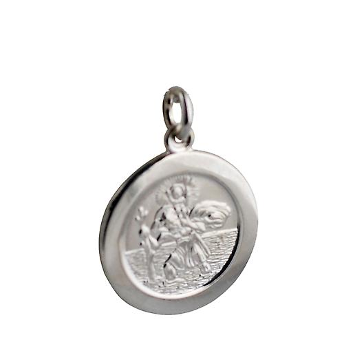 Silver 21mm round St Christopher Pendant with car boat train plane on back
