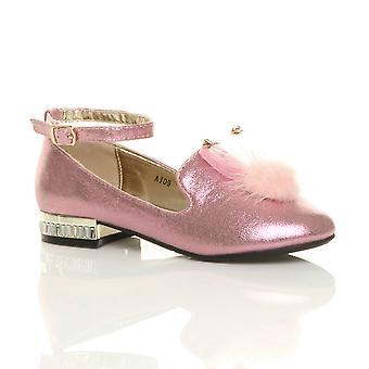 Ajvani meninas tornozelo cinta brilho brilho pom pom sapatos festa sapatos bailarinas