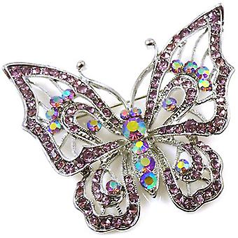 Brooches Store Large Vintage Silver & Light Amethyst Crystal Butterfly Brooch