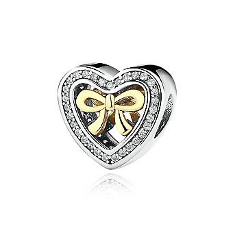 Sterling silver charm Heart with bow PAS300