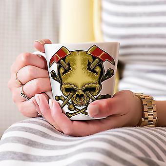斧死ゴス戦争スカル ホワイト ティー コーヒー セラミック カフェラテ マグカップ 17 oz |Wellcoda