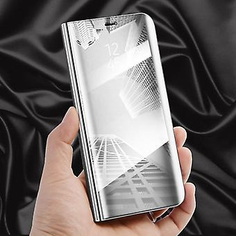 For Samsung Galaxy A6 plus A605 2018 clear view mirror mirror smart cover silver protective case cover pouch bag case new case wake UP function