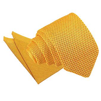 Marigold Yellow Knitted Slim Tie & Pocket Square Set