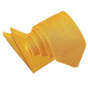 Ringelblume gelb gestrickte schmale Krawatte und Einstecktuch