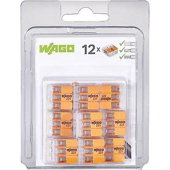 WAGO 221-413/996-012 Connector clip flexible: 0.14-4 mm² rigid: 0.2-4 mm² Number of pins: 3 12 pc(s) Transparent, Orange