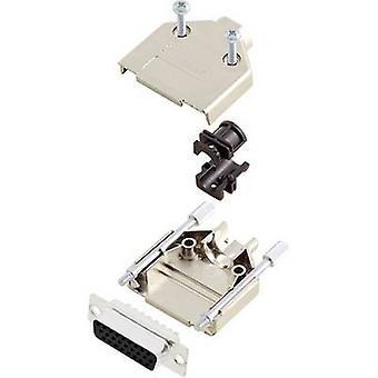 D-SUB receptacle set 180 ° Number of pins: 15 Solder bucket encitech DTPK09-M-HDS15-K 1 Set