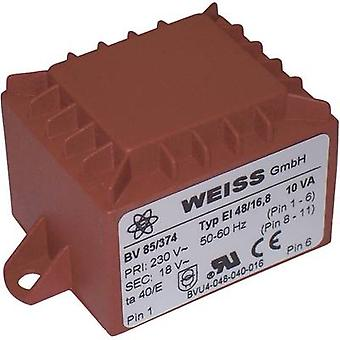 PCB mount transformator 1 x 230 V 1 x 9 V AC 10 VA 1111 mA 85/371 Weiss Elektrotechnik