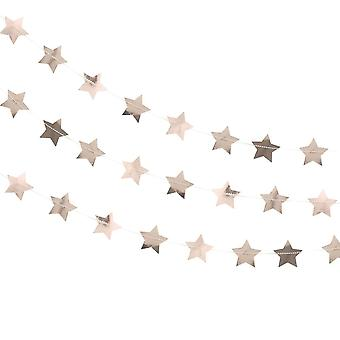 Christmas Rose Gold Star Garland Xmas Decoration 5m Home Party Décor Wedding