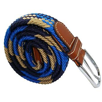 Bassin and Brown Jagged Stripe Elasticated Woven Buckle Belt - Blue/Navy/Beige