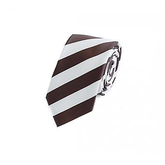 Tie cravate cravate 6cm blanc brun rayé Fabio Farini