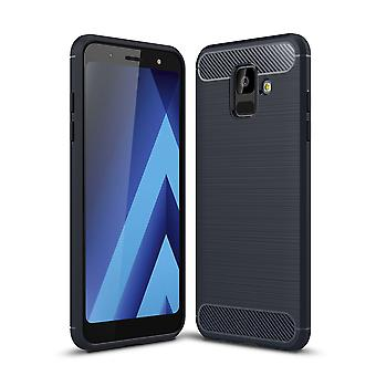 Samsung Galaxy A6 2018 sag silicium blå carbon ser sag TPU mobil dækning af kofanger 211770