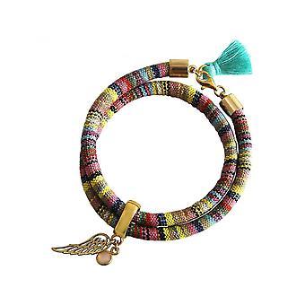Damen - Armband - Wickelarmband - 925 Silber Vergoldet - Flügel - Engel - AZTEC - Rosenquarz - Rose