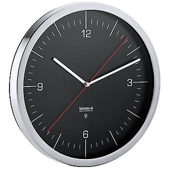 Radio clock radio clock in stainless steel Blomus model Chrono matt combined with clear glass