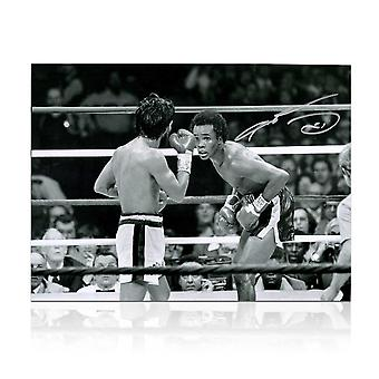 Sugar Ray Leonard Signed Boxing Photograph: Fighting Roberto Duran