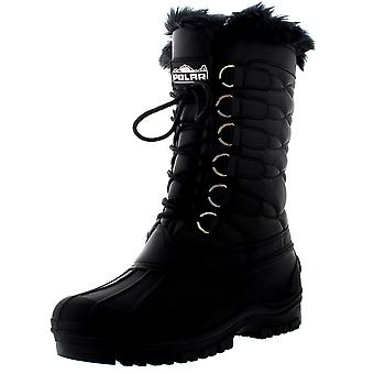 Womens Nylon Muck Rain Waterproof Thermal Faux Fur Quilted Mid Calf Boot UK 3-10