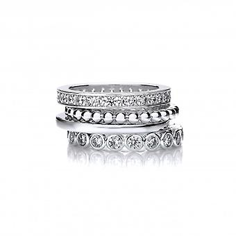 Cavendish French Silver and CZ Mix and Match Stacking Rings