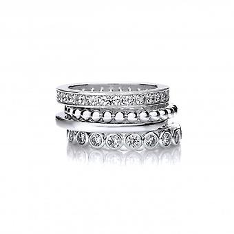 CZ y plata francesa Cavendish mezclan y combinar anillos apilables