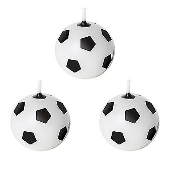 Black and White 3 Novelty Football Round Birthday Wax Cake Candles TRIXES