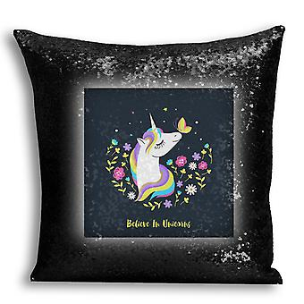 i-Tronixs - Unicorn Printed Design Black Sequin Cushion / Pillow Cover with Inserted Pillow for Home Decor - 14