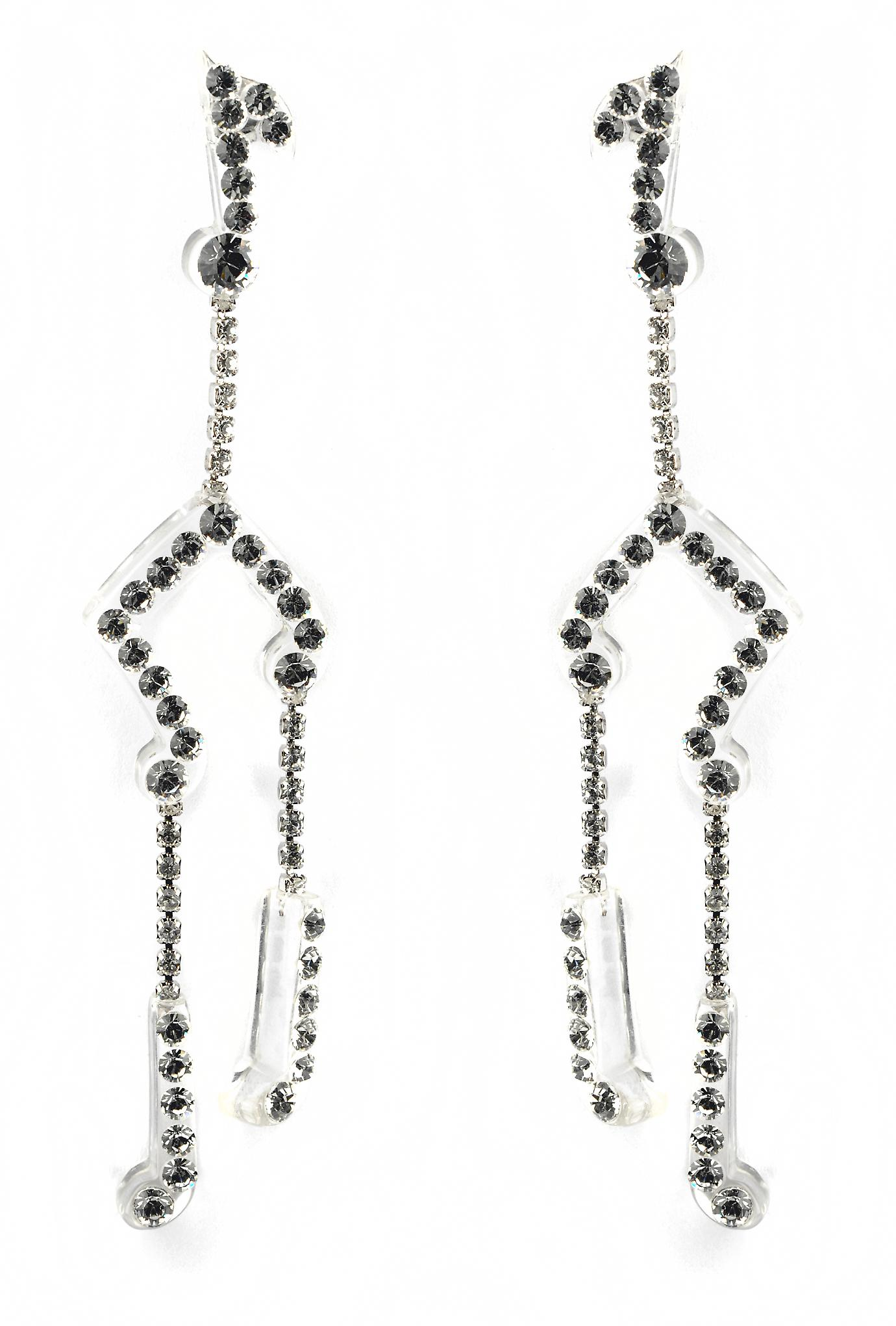 Waooh - jewelry - WJ0700 - earrings with Rhinestone Swarovski black gloss on Mount White Transparent Perspex