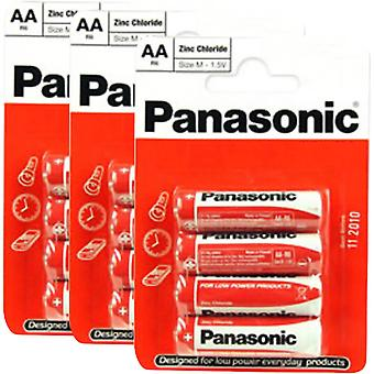 12 x Panasonic R6RZ-4BP AA Size Batteries