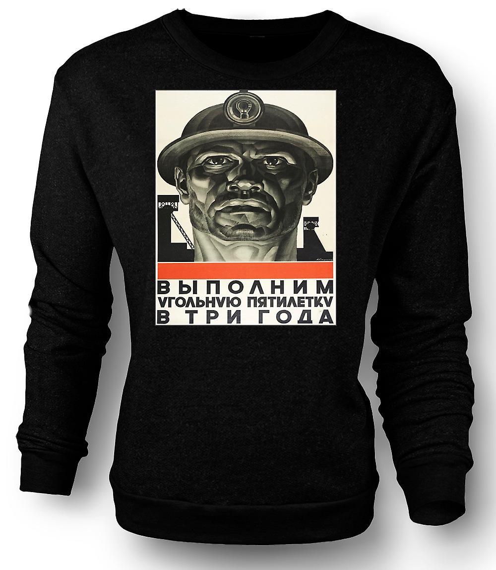 Mens Sweatshirt Miner russische Propaganda - Plakat