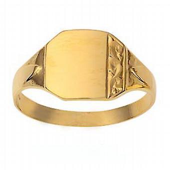 9ct goud 12x11mm gents gegraveerd vierkante Signet Ring grootte R