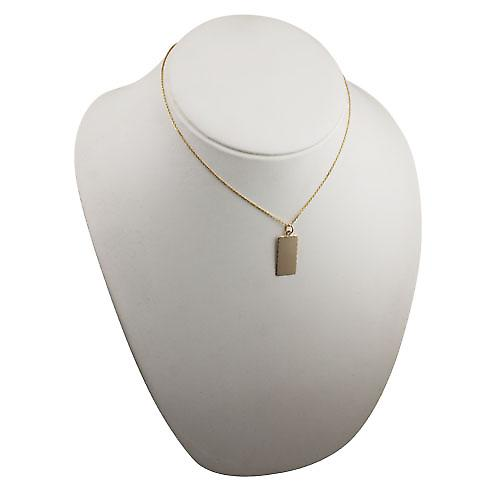 9ct Gold 26x13mm diamond cut edge rectangular Disc with a cable Chain 16 inches Only Suitable for Children