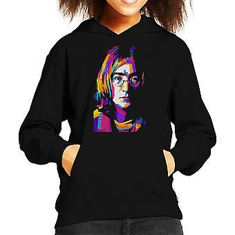 Geometric Celebrity John Lennon Kid's Hooded Sweatshirt