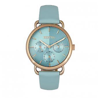 Bertha Gwen Leather-Band Watch w/Day/Date - Seafoam