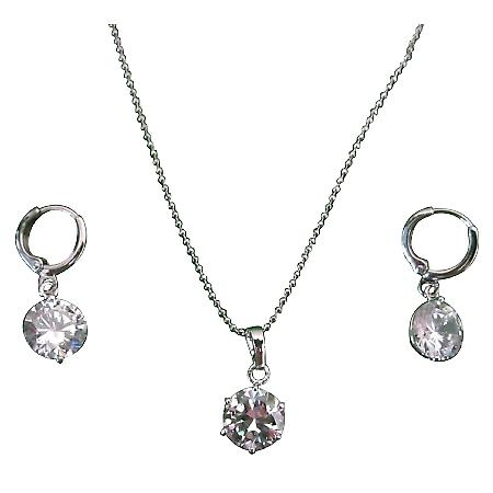 Round Wheel Crystals Pendant Necklace Set w/ Simulated Crystal Wheel Pendant/Earrings Jewelry Set
