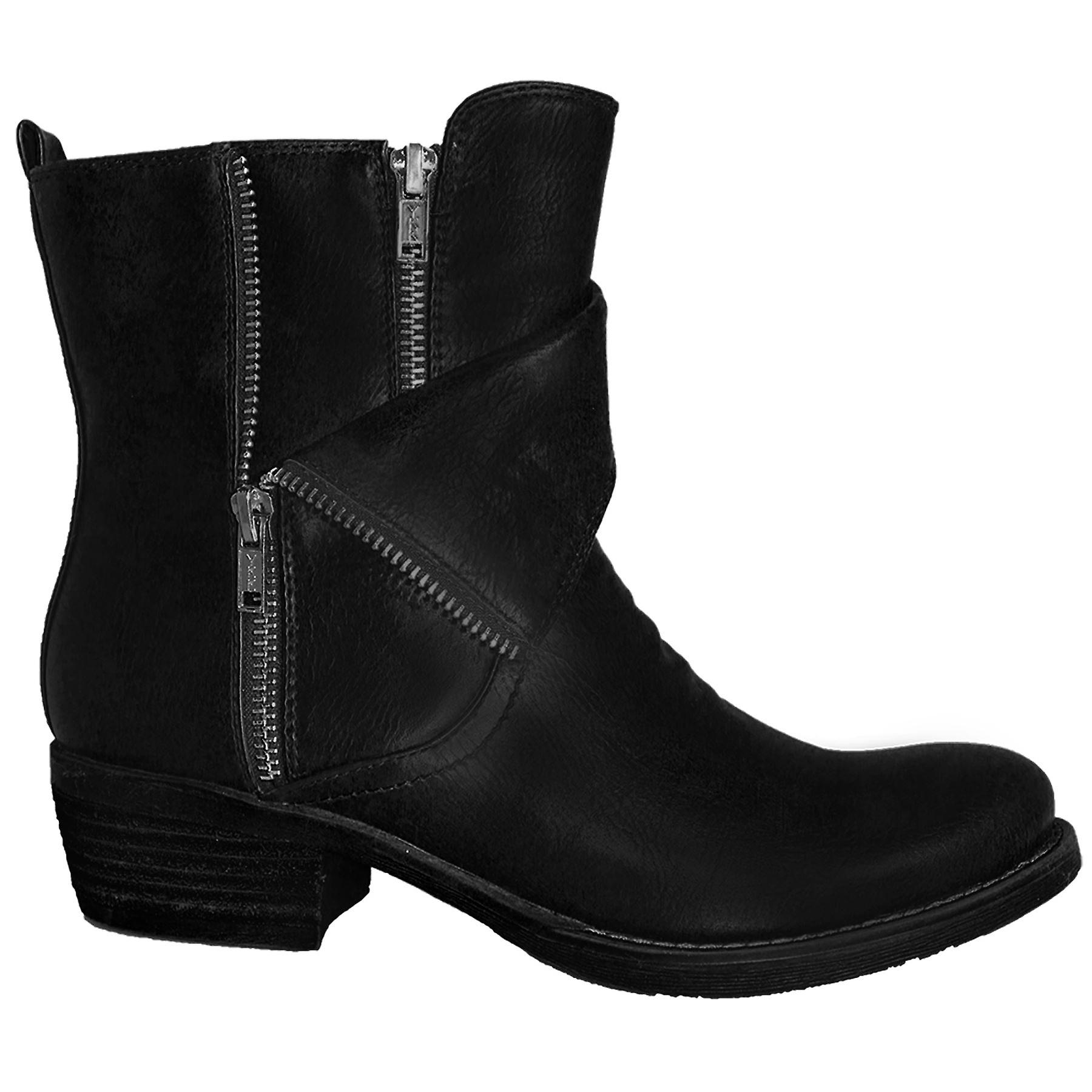 Ladies PU Faux Leather Low Chunky Heel Women's Warm Double Zip Ankle Boots