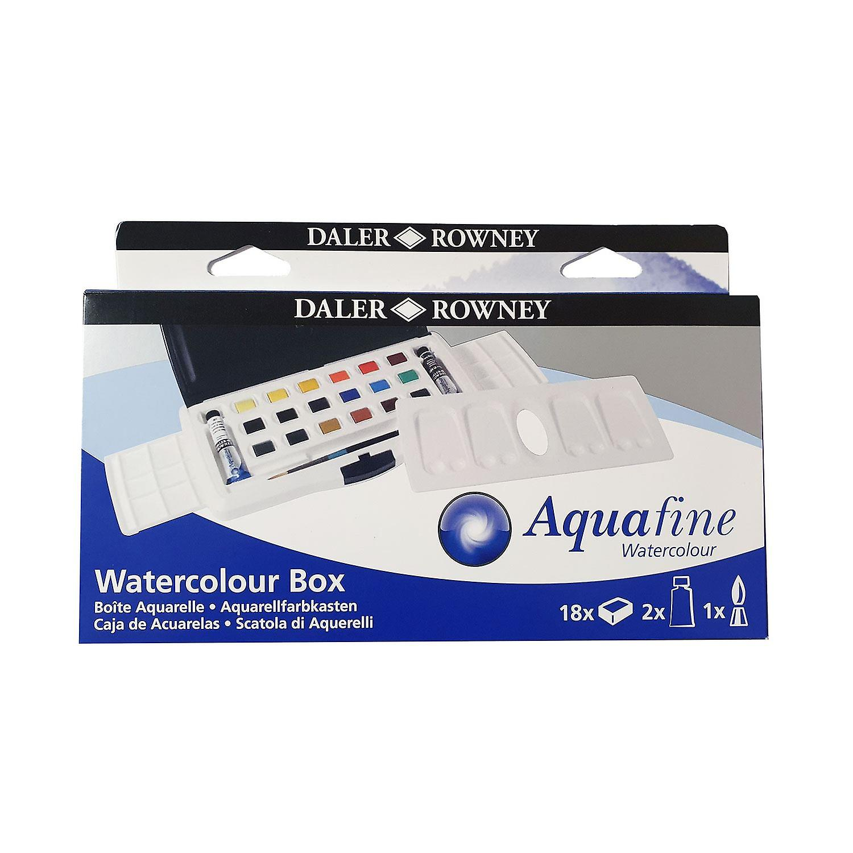 Daler Rowney Aquafine Aquarelle 18 demi casseroles & 2 tubes Slider Box
