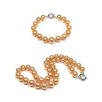30f3136a0473 Adorno mujer collar y Pulsera perlas SSS oro 10 mm y plata 925