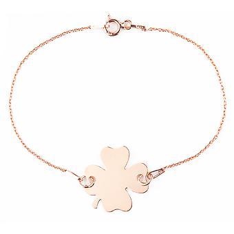 Ah! Bijoux 18K or rose sur bracelet en argent sterling trèfle, estampillé 925. Extension 3cm incluse